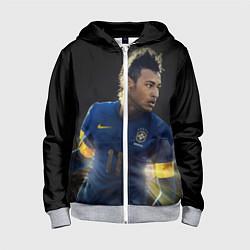 Толстовка на молнии детская Neymar: Brasil Team цвета 3D-меланж — фото 1
