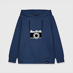 Толстовка детская хлопковая Фотик на шее цвета тёмно-синий — фото 1