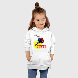 Толстовка детская хлопковая Спортивное самбо цвета белый — фото 2