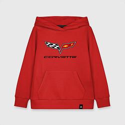 Толстовка детская хлопковая Chevrolet corvette цвета красный — фото 1