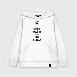 Толстовка детская хлопковая Keep Calm & Do Yoga цвета белый — фото 1