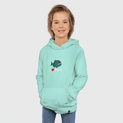 Толстовка детская хлопковая Добрая пиранья цвета мятный — фото 2