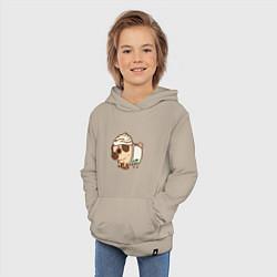 Толстовка детская хлопковая Сладкий мопс цвета миндальный — фото 2