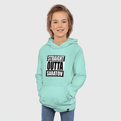 Толстовка детская хлопковая Straight Outta Saratov цвета мятный — фото 2