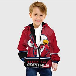 Детская 3D-куртка с капюшоном с принтом Washington Capitals, цвет: 3D-черный, артикул: 10106983705458 — фото 2