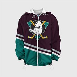 Детская 3D-куртка с капюшоном с принтом Anaheim Ducks, цвет: 3D-белый, артикул: 10107220705458 — фото 1