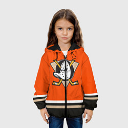 Детская 3D-куртка с капюшоном с принтом Anaheim Ducks, цвет: 3D-черный, артикул: 10107225805458 — фото 2