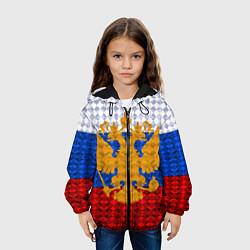 Детская 3D-куртка с капюшоном с принтом Россия: полигоны, цвет: 3D-черный, артикул: 10107356605458 — фото 2