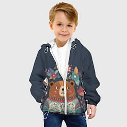 Детская 3D-куртка с капюшоном с принтом Осенний медведь, цвет: 3D-белый, артикул: 10111474405458 — фото 2