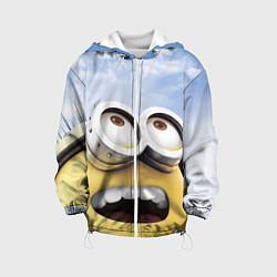 Детская 3D-куртка с капюшоном с принтом Улыбка миньона, цвет: 3D-белый, артикул: 10131641305458 — фото 1