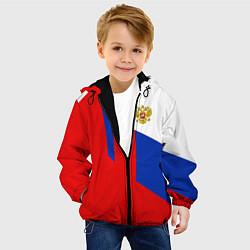 Куртка с капюшоном детская Russia: Geometry Tricolor цвета 3D-черный — фото 2