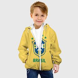 Детская 3D-куртка с капюшоном с принтом Brazil Team, цвет: 3D-белый, артикул: 10154256305458 — фото 2