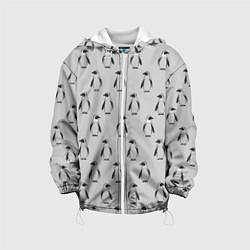 Детская 3D-куртка с капюшоном с принтом Нашествие пингвинов, цвет: 3D-белый, артикул: 10205490505458 — фото 1