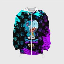 Детская 3D-куртка с капюшоном с принтом Brawl stars leon shark, цвет: 3D-белый, артикул: 10207752505458 — фото 1