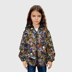 Детская 3D-куртка с капюшоном с принтом FNaF стикербомбинг, цвет: 3D-черный, артикул: 10210640905458 — фото 2