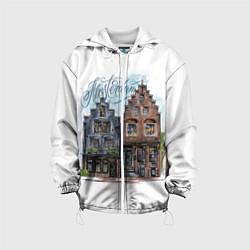 Детская 3D-куртка с капюшоном с принтом Амстердам, цвет: 3D-белый, артикул: 10266345105458 — фото 1