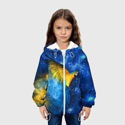 Детская 3D-куртка с капюшоном с принтом Космический попугай, цвет: 3D-белый, артикул: 10065277405458 — фото 2