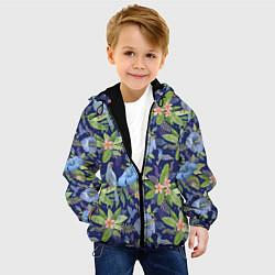 Куртка с капюшоном детская Голубые попугаи цвета 3D-черный — фото 2