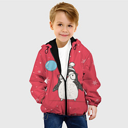 Куртка с капюшоном детская Влюбленная пингвинка цвета 3D-черный — фото 2