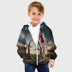 Куртка с капюшоном детская Велогонщик цвета 3D-белый — фото 2