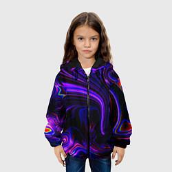 Куртка с капюшоном детская Цветные разводы цвета 3D-черный — фото 2