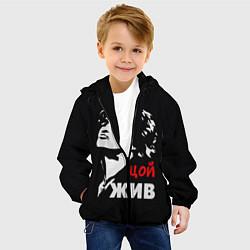 Куртка с капюшоном детская Цой жив цвета 3D-черный — фото 2
