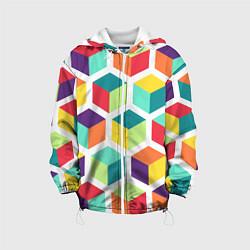Куртка с капюшоном детская 3D кубы цвета 3D-белый — фото 1