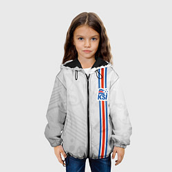 Куртка с капюшоном детская Сборная Исландии по футболу цвета 3D-черный — фото 2