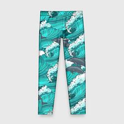 Леггинсы для девочки Лазурные дельфины цвета 3D — фото 1