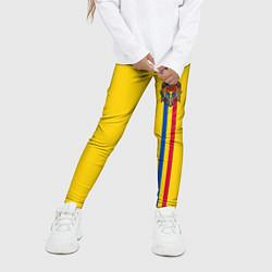Леггинсы для девочки Молдавия: лента с гербом цвета 3D-принт — фото 2