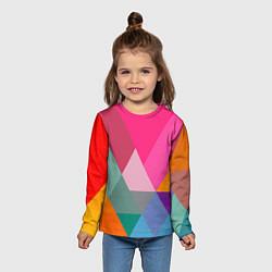 Лонгслив детский Разноцветные полигоны цвета 3D — фото 2