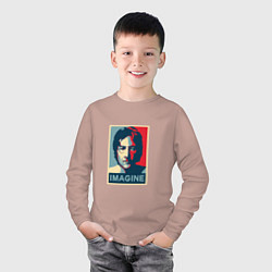 Лонгслив хлопковый детский Lennon Imagine цвета пыльно-розовый — фото 2