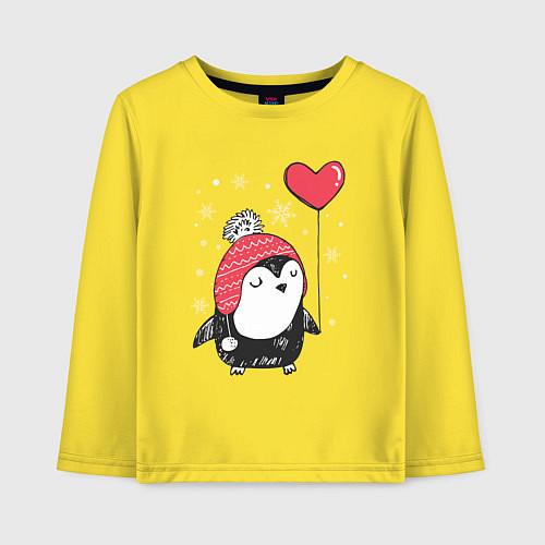 Детский лонгслив Пингвин с шариком / Желтый – фото 1