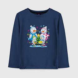 Лонгслив хлопковый детский Семья снеговиков цвета тёмно-синий — фото 1