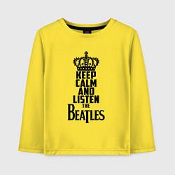 Лонгслив хлопковый детский Keep Calm & Listen Beatles цвета желтый — фото 1