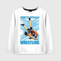 Лонгслив хлопковый детский Greco-roman wrestling цвета белый — фото 1