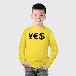 Лонгслив хлопковый детский YE$ цвета желтый — фото 2