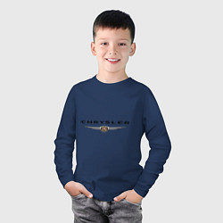 Лонгслив хлопковый детский Chrysler logo цвета тёмно-синий — фото 2
