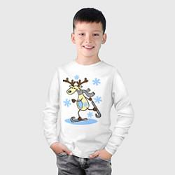 Лонгслив хлопковый детский Олень на лыжах цвета белый — фото 2