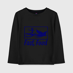 Лонгслив хлопковый детский Shark fast food цвета черный — фото 1