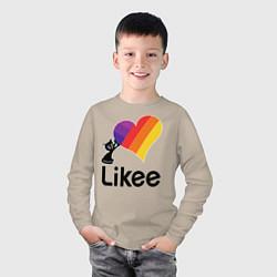 Лонгслив хлопковый детский Likee LIKE Video цвета миндальный — фото 2