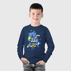 Лонгслив хлопковый детский Leon Wolf цвета тёмно-синий — фото 2