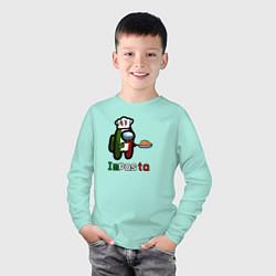 Лонгслив хлопковый детский Among Us цвета мятный — фото 2