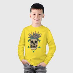 Лонгслив хлопковый детский Череп Моргенштерна цвета желтый — фото 2