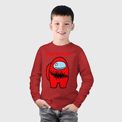 Лонгслив хлопковый детский AMONG US - IMPOSTOR цвета красный — фото 2