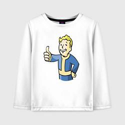 Лонгслив хлопковый детский Fallout vault boy цвета белый — фото 1