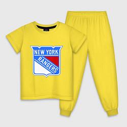 Пижама хлопковая детская New York Rangers цвета желтый — фото 1