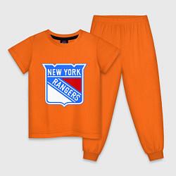 Пижама хлопковая детская New York Rangers цвета оранжевый — фото 1