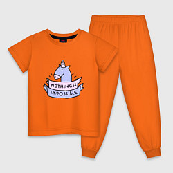 Пижама хлопковая детская Unicorn цвета оранжевый — фото 1