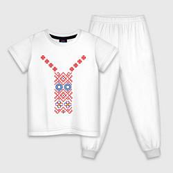 Пижама хлопковая детская Узор славянского сарафана цвета белый — фото 1